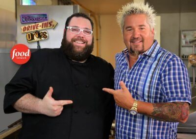 Evan Blomgren and Guy Fieri from Triple D